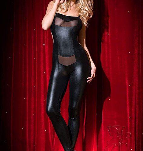 elastic black catsuit
